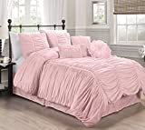 Chezmoi Collection 6-piece Chic Ruched Comforter Set (With Throw Pillows) (Twin, Pink)