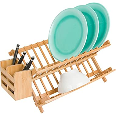 Trademark Innovations Folding Dish Rack with Utensil Holder, Tan