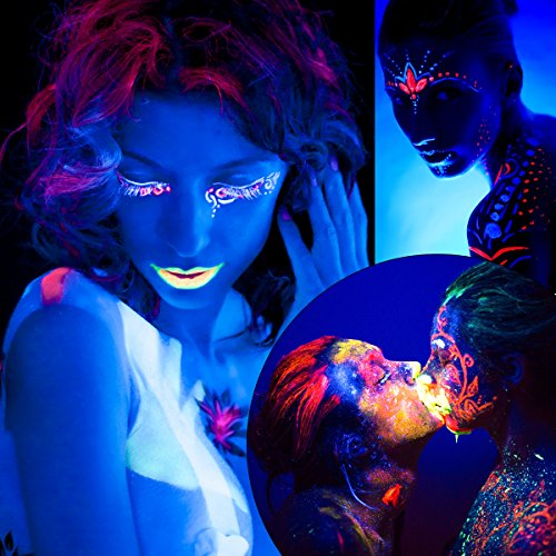 ETEREAUTY UV Glow Blacklight Face and Body Paint 1-oz, Set of 8 Tubes with 6 Brushes and a Mixing Palette by  (Image #4)