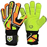 Renegade GK Fury Volt Flat Gecko Cut Level 4 Professional Goalkeeper Gloves Adults & Youth with Pro-Tek Fingersaves (Size 9) - Soccer Keeper Gloves - Orange, Neon Yellow, Black, Silver