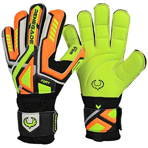 Renegade GK Fury Volt Flat Gecko Cut Level 4 Adult, Boys, Girls Soccer Goalie Gloves with Pro-Tek Fingersaves - Goalie Gloves Size 8 - Goalie Gloves with Spines - Orange, Neon Yellow, Black, Silver