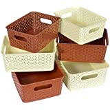 FAIR FOOD NAOE - Royal Baskets for Storage - Brown & Ivory, Set of 6 (3 Large, 3 Medium and 3 Small)