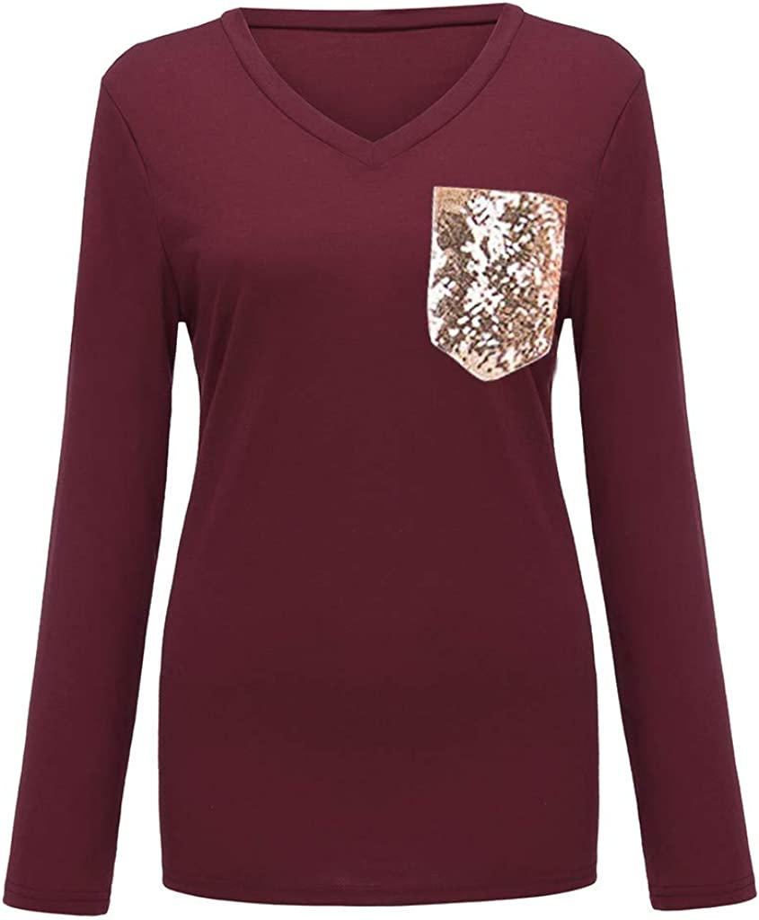 Womens Sequin Pocket Tops Long Sleeves Casual V Neck T Shirt Casual Basic Tees Tunics Pullover Loose Top Blouse