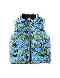 SNOW DREAMS Boys Plane Print Zip Up Quilted Vest Stand Collar Sleeveless Jacket