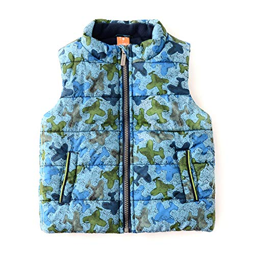 - SNOW DREAMS Boy's Hooded Puffer Vest Full Zip Quilted Sleeveless Jacket Pockets Plane Print 4t