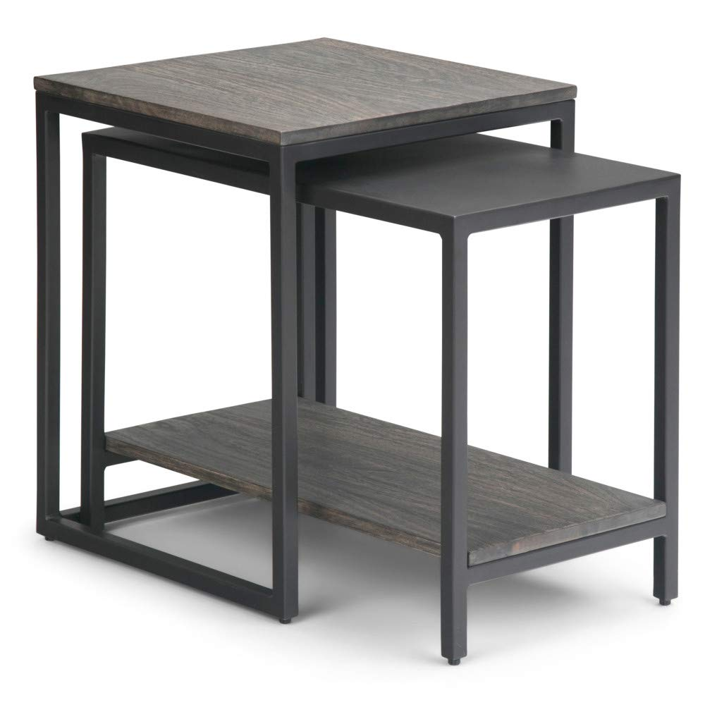 Simpli Home AXCBEL-06 Bellgrove Solid Mango Wood and Metal 16 inch Wide Square Modern Industrial 2 Pc Nesting Table in Light Charcoal, Fully Assembled by Simpli Home