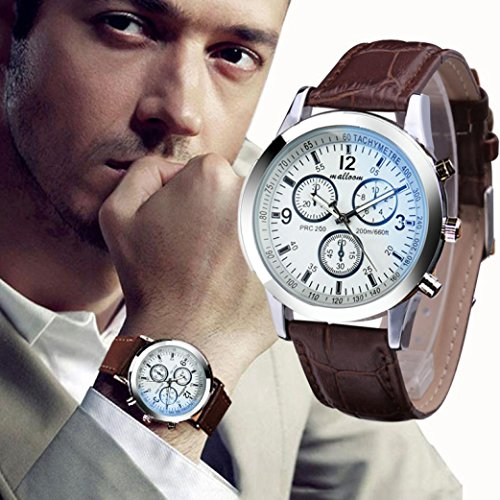 IEason,Luxury Fashion Faux Leather Mens Blue Ray Glass Quartz Analog Watches (E)
