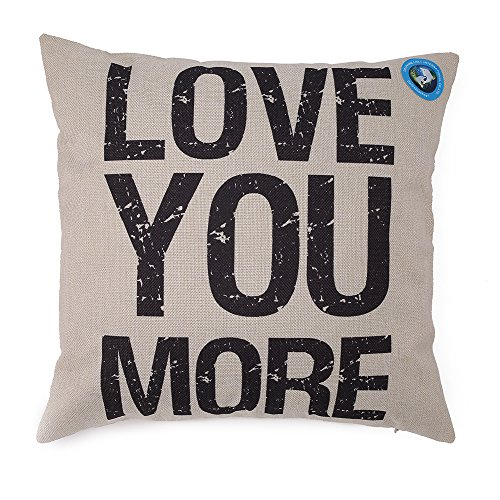 DolphineShow Unique Pillow Shams Gifts for Lover Printed Cotton Linen Square LOVE YOU MORE Pattern Sofa Simple Home Decor Throw Pillow Cases Cushion Cover 18x18