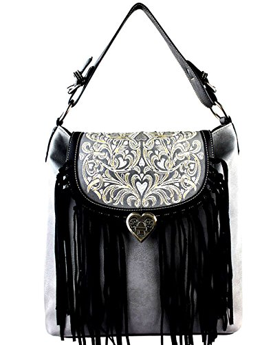 Black Gray Fringe X Flap Concealed West Top w large Hobo Montana Carry nvP4BzxABq