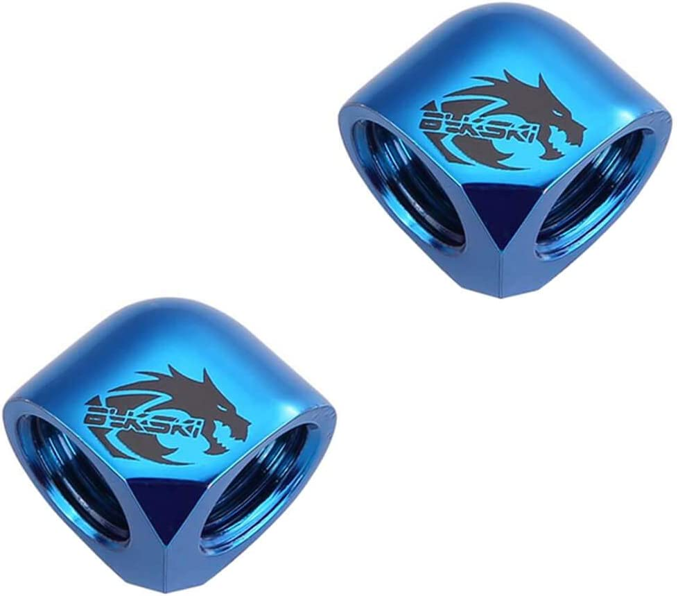 2 Pack Blue Bykski G1//4 Female to Female 90 Degree Elbow Fitting