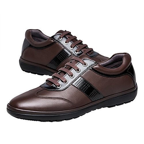 Zro Mens Fritid Läder Lägenheter Shoes Lace-up Sneaker Brun