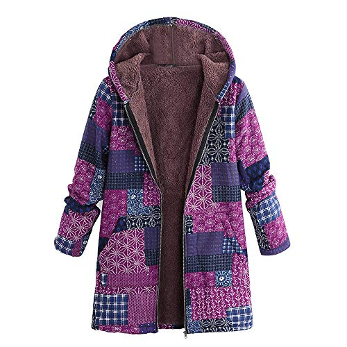 (Oasisocean Women's Floral Print Pockets Vintage Zipper Oversize Winter Warm Hooded Jacket Cardigan Overcoat Outwear Coat Hot)