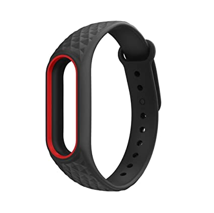 Fossen Diamante patrón Pulsera de Reloj Reemplazo Banda Correas para Xiaomi Mi Band 2 (Negro