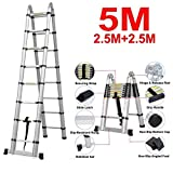 2018 NEW Design DIY Multi-Purpose Aluminium Telescopic Ladder Portable Foldable Ladder Extension Extend Ladder (5M(A-Frame))