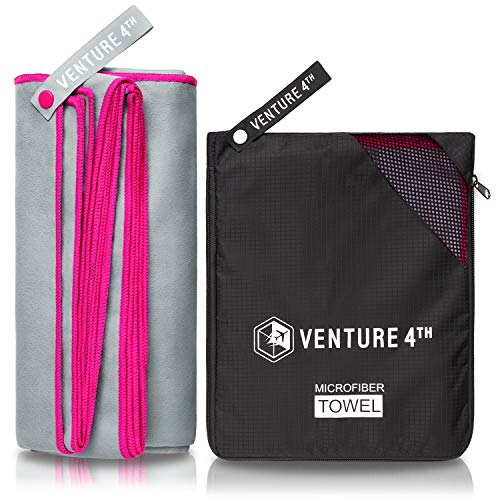 VENTURE 4TH Microfibre Travel Towel - Sports Towel: Packable Personal Microtowel for Athletic Men and Women - Fluffy and Absorbing (Gray-Pink Large)
