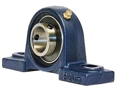 "UCP205-16 Pillow Block Mounted Bearing, 2 Bolt, 1"" Inside Diameter, Set screw Lock, Cast Iron, Inch"
