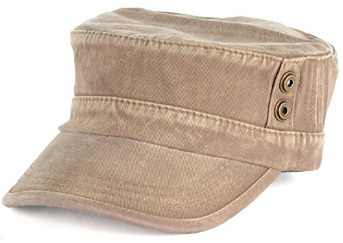 - BYOS Classic Washed Military Cadet Army Cap Hat Flap Top Various Styles (Washed Khaki)