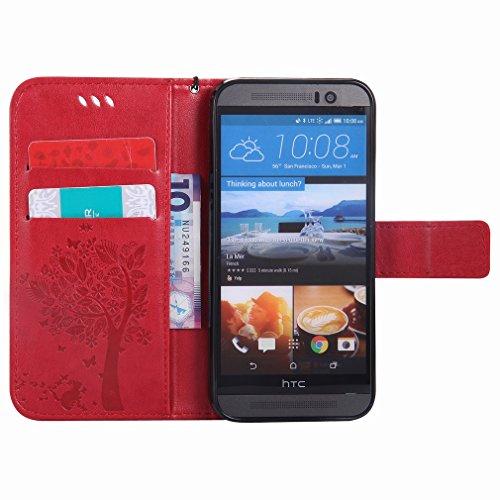 Yiizy HTC One M9 / HTC One Hima Funda, árbol De Dibujo Diseño Solapa Flip Billetera Carcasa Tapa Estuches Premium PU Cuero Cover Cáscara Bumper Protector Slim Piel Shell Case Stand Ranura para Tarjeta