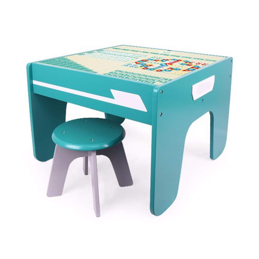 UTTHB Building Block Game Table Children's Wooden Table Multi-Function Granule Baby Assembled Toy Table 3-6 Years Old Kids Activity Table Set (Color : Blue, Size : Big) by UTTHB