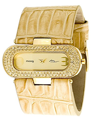 Moog Paris - Smart - Women's Watch with champagne dial, beige strap in Genuine calf leather, made in France - M44082-011