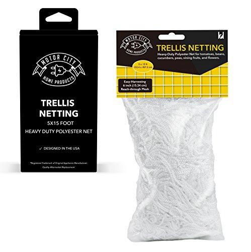 - 5x15 Foot Garden Trellis Netting for Vegetables, Plants, Flowers, Vines; Flexible, Soft, Mesh; Motor City Home Products Brand Replacement (1)