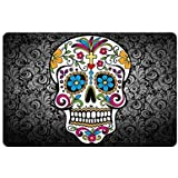 "23.6""(L) x 15.7""(W),3/17"" thickness, Sugar Skull and Flower Background Indoor/outdoor Floor Mat Doormat"