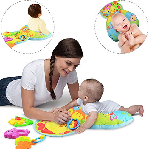 Anjojo Grow With Me Inflatable Baby Tummy Time Pillow Comfort Vibe Play Wedge For infant Activity - Strap Wedge Travel