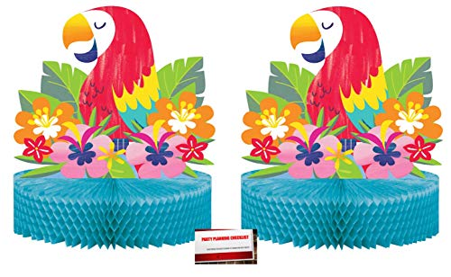 (2 Pack) Luau Hibiscus Spring Summer Flower Centerpiece, 12-Inch (Plus Party Planning Checklist by Mikes Super Store)