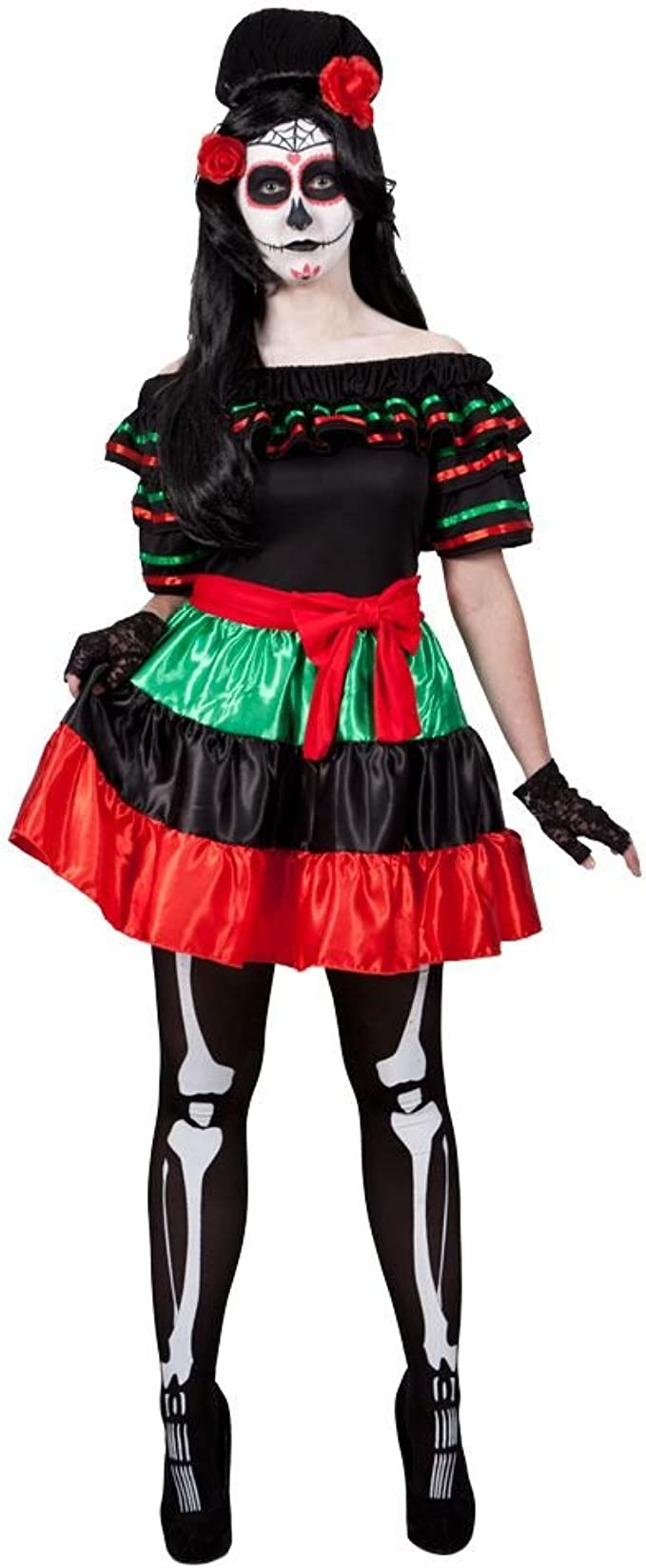 Mexican Day Of The Dead - Adult Costume S (UK:10-12): Amazon.es ...