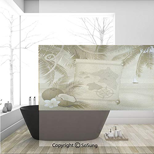 3D Decorative Privacy Window Films,Monochrome Retro Treasure Map on a Tropical Escape Sandy Beach with Palms Exotic,No-Glue Self Static Cling Glass Film for Home Bedroom Bathroom Kitchen Office 36x24