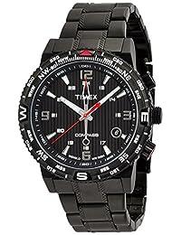 TIMEX [Amazon.co.jp Limited] Men's Intelligent Quartz Compass Black Dial Black IP Stainless Steel Bracelet T2P288