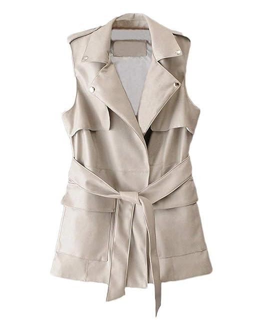 Chaleco Mujer Elegante Moda Festivo Vintage Abrigos Primavera Joven Otoño con Cinturón Color Sólido Chaquetas Slim Fit Moda Cazadoras Outerwear Women: ...