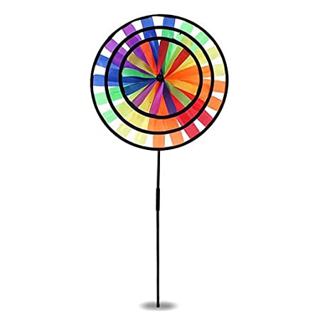 Whitleys Colorful Windmill 3 Circles Whirligig Wheel Cute Lawn Yard Festival Decor Kid Outdoor Toy