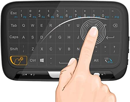 Mini Teclado Inalámbrico portátil ergonómico con touchpad (RF 2.4 GHz, USB), Compatible con SmartTV, Mini PC, TV inteligente, Android TV BOX, PC, Caja ...