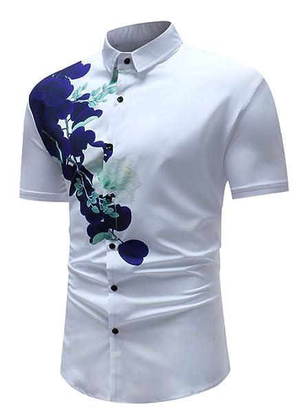 Camisa Casual Camisas Corta Hombre Manga Para Slim Fit Camiseta 6gyvIf7Ybm