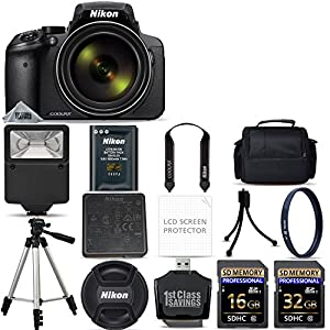Nikon COOLPIX P900 Digital Camera with 83x Optical Zoom and Built-In Wi-Fi (Black) + 48GB Starter Bundle. Includes 2X Memory Cards + UV Filter + Tripod + Case + MUCH MORE