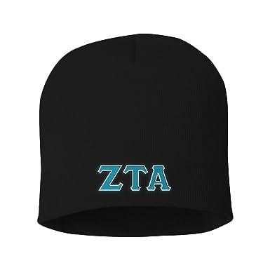 Greekgear Zeta Tau Alpha ZTA Big Greek Lettered Skull Cap Black at ... 4942eeb63faf