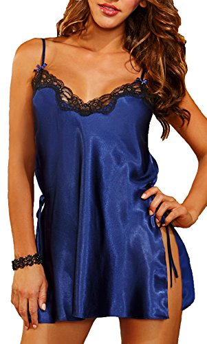 Freemale Womens Sexy Lingerie Strap Silky Satin Nightgown Charmeuse Toga Chemise (S ,Blue) (Toga For Women)