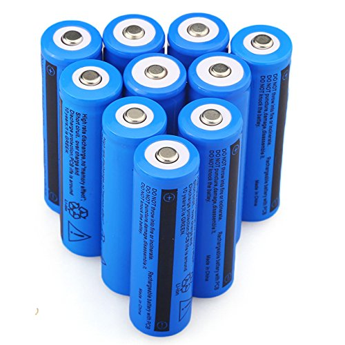 10PCS 3.7V 5000mAh 18650 Battery Rechargeable Batteries for LED Flashlight(Not AA NOT Flat Top)