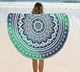 raajsee Round Beach Tapestry hippie Green/Boho Mandala Beach Blanket Circle/Indian Cotton Bohemian Large Round Table cloth Mandala Decor/Yoga Mat Meditation Picnic Rugs 70inch