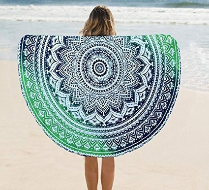 Round Ombre Mandala tapestry hippie tapestry gypsy wall hanging indian boho cotton table cloth beach towel round meditation yoga mat by Hipistry Hub (GREEN)