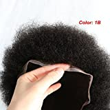 Afro Toupee for Black Men Human Hair All Transparent Lace Man Weave Balding Mens Custom Hair Unit 8x10inch Male Hair Replacement with Weaves 120% Medium Density 1B Off Black Lumeng