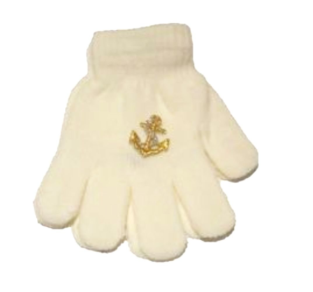 White Color Magic Gloves with White Satin Anchor for Children Ages 1-4 Years