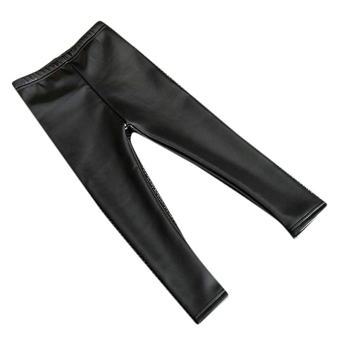 Pandapang Girls' Warm Solid Faux Leather Fashion Slim Pant Leggings