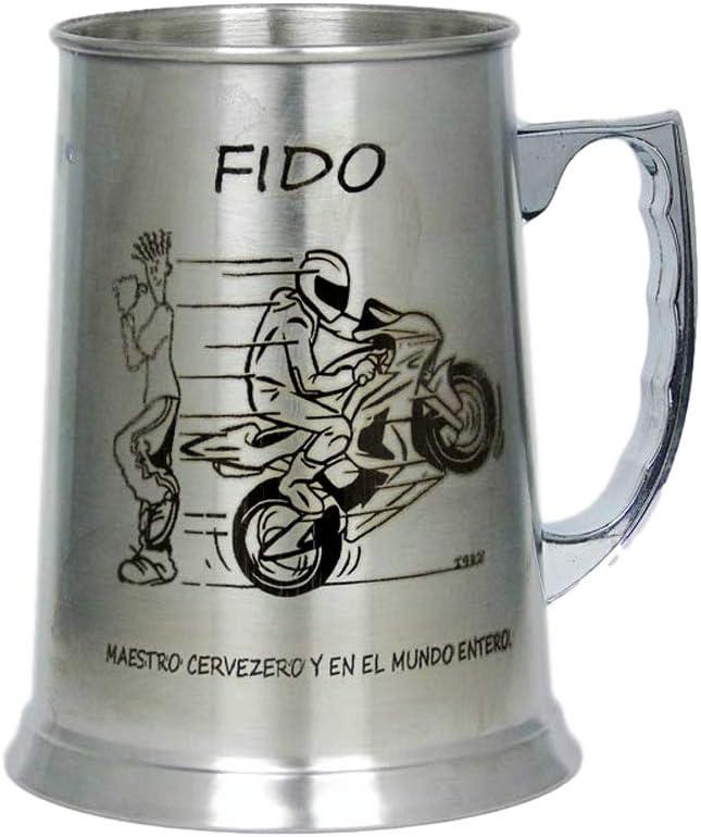 Escudo regalo grabado Jarra Cerveza de Acero Personalizada con Dibujo Nombre como desee. Asa a la Derecha Logo