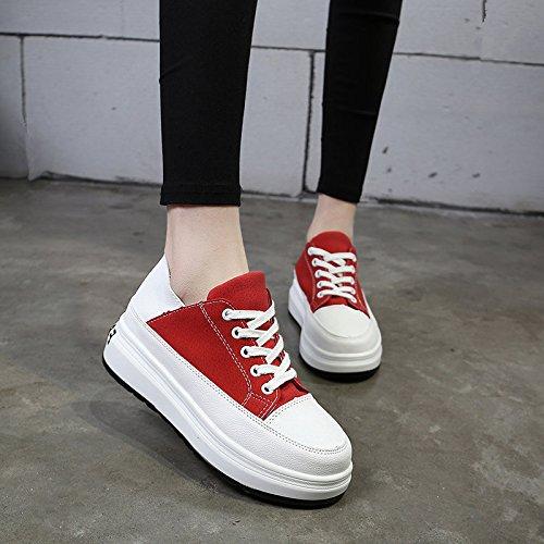 Zapatos Zapatos Mujer Los Backplane De Plano De Zapatos Blancos rojo Zapatos Tela Gruesos Fondo Mujeres GAOLIM El Femenino De Pequeños w4RqEwp
