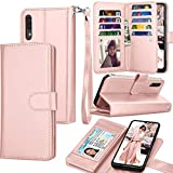 Galaxy A70 Case, Galaxy A70 Wallet Case, Luxury Cash Credit Card Slots Holder Carrying Folio Flip PU Leather Cover [Detachable Magnetic Hard Case] & Kickstand Compatible Samsung Galaxy A70 [Rose Gold]