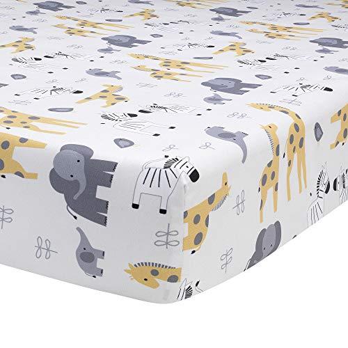 Safari Sheets Crib - Lambs & Ivy Me & Mama Cotton Fitted Crib Sheet - Gray, White, Animals, Safari
