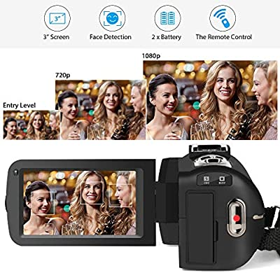 Video Camcorder,ACTITOP 1080P FHD Camcorder 24.0MP 16X Digital Zoom Video Camera 3.0 Inch Screen Face Detection LED Light Camcorder Camera with External Microphone,Remote Control,2 Batteries