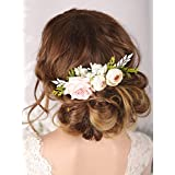 Kercisbeauty Floral Bridal Boho White Hair Comb Wedding Hair Piece Barrette Evening Party Hair Accessories for Women Prom Girls